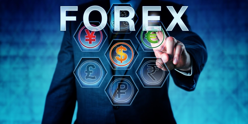 forex trader on touch screen